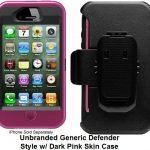 Dark Pink Denfender Style iPhone 4 Case