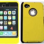 iPhone 4 4s OtterBox Defender Yellow Skin Black Holster