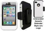 iPhone 4 4s White Skin w/Black Holster Defender Style Unbranded