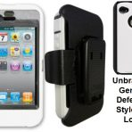 iPhone 4 4s White Skin w/Black Holster Defender Style Unbranded