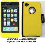 iPhone 4 4s Yellow Skin w/Black Holster Defender Style Unbranded