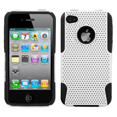 Perforated white and black iphone 4 case
